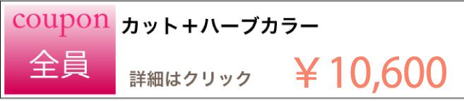 カット+ハーブカラーのクーポン ¥10,600 詳細はクリック