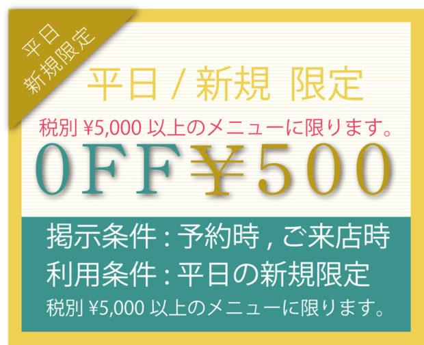 500円の割引クーポン